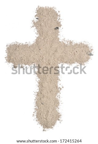 Cross made of ashes   - stock photo
