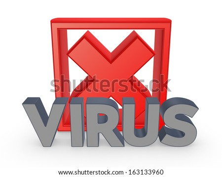 Cross mark and word VIRUS.Isolated on white.3d rendered. - stock photo