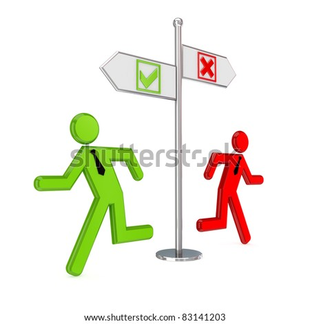 Cross mark, tick mark, crossroad and 3D small people. Isolated on white background. - stock photo