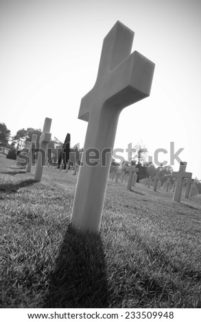 Cross marking grave in World War 2 cemetery - stock photo
