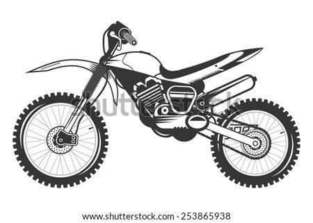 Cross Motorcycle with Helmet. Isolated sketch of of cross road bike. - stock photo