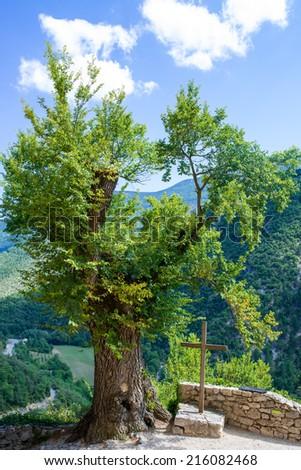 Cross ,mountain in Brantes - stock photo
