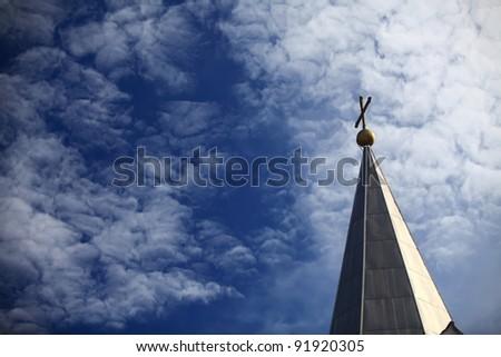 cross od blue sky - stock photo