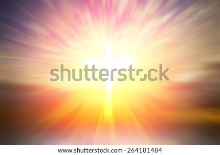 Cross of hope and faith in God and in the background rays of sunset. religious abstract composition - stock photo