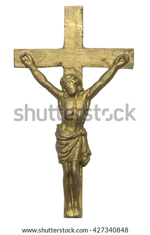 Cross of Jesus Christ isolated on white background - stock photo