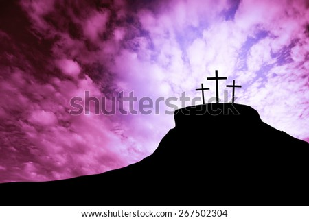 cross on a hill - stock photo