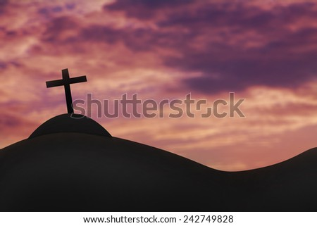 Cross on a hill and the holy sky. - stock photo