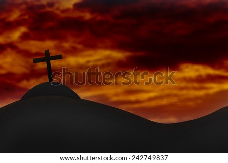 Cross on a hill and the holy sky.