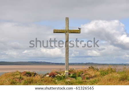 Cross on a hillside by the sea, Lindisfarne