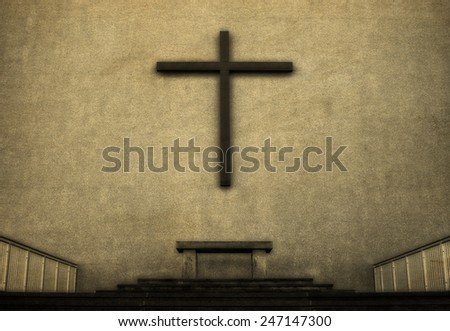 Cross on exterior wall of Cathedral, vintage look. - stock photo