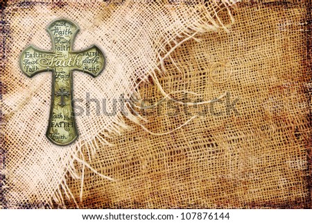 Cross on grunge canvas - stock photo