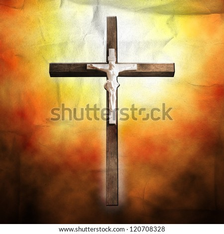 Cross on paper background - stock photo
