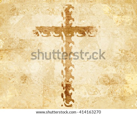 Cross on parchment - stock photo