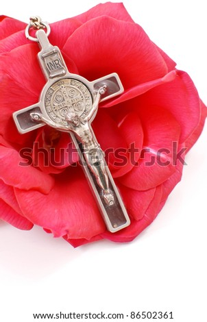 Cross on Red Rose - stock photo