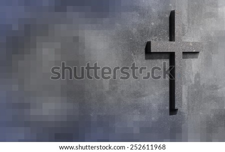 Cross on the wal - stock photo