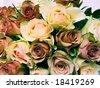 cross process photographic reproduction showing an extraordinary abundant and beautiful wedding bouquet - stock photo