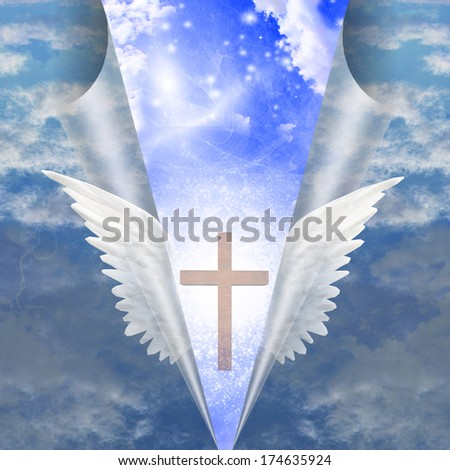 Cross revealed by angels wings - stock photo
