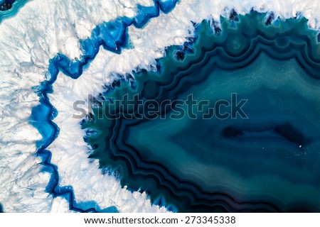 Cross section of a blue Brazilian geode commonly called Thunder Eggs or blue agate crystal - stock photo