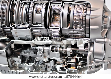 Cross-section of a car gearbox. - stock photo