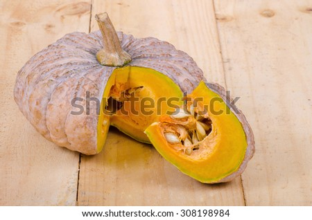 Cross section of a pumpkin - stock photo