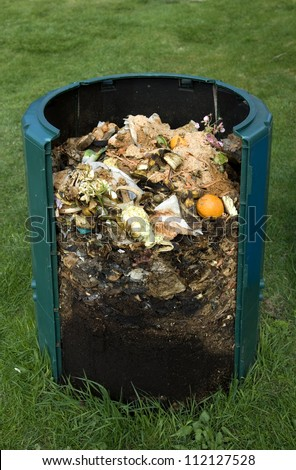 Cross section of compost bin - stock photo