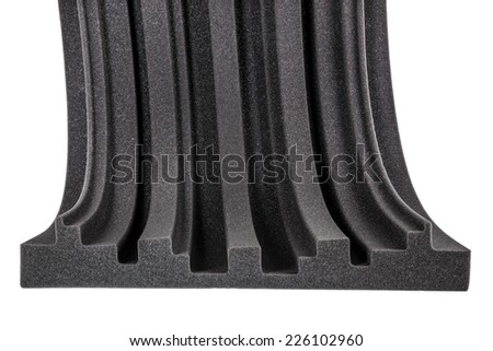 cross section of microfiber foam insulation for noise in music studio or acoustic halls , rooms , professional studio insulation material , noise isolation , noise isolating protective absorber wall - stock photo