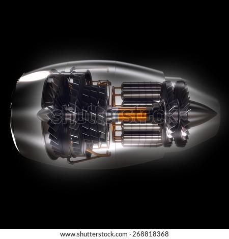 Cross Section of Modern Airplane Jet Engine Turbine  - stock photo