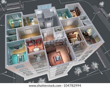 Cross-section of residential house. 3D image. - stock photo