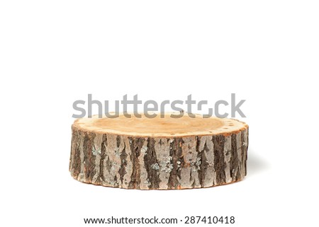 Cross section of tree trunk, isolated on white background - stock photo