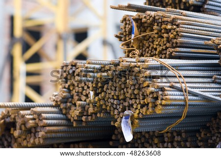 Cross-sectional close-up of Rusty High Tensile Deformed Steel Bar - stock photo