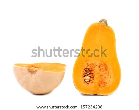 Cross sections of a pumpkin. Isolated on a white background.