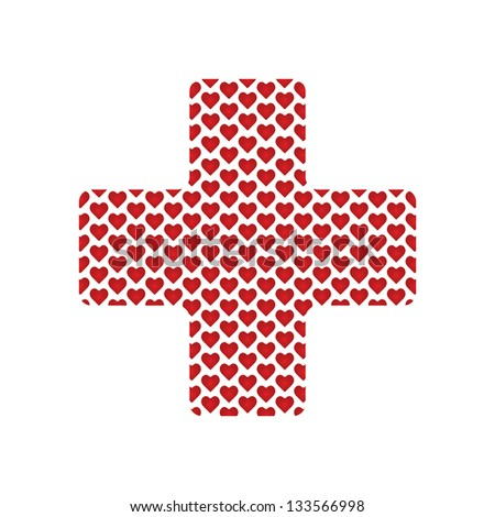 Cross shape with medical hearts for your design - stock photo