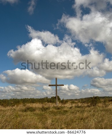 cross Silhouette against dramatic Sky. - stock photo