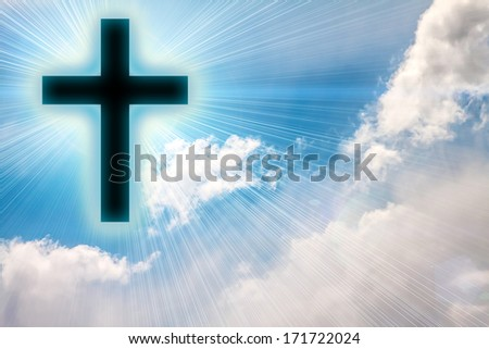 Cross silhouette against sky. Conceptual image. - stock photo