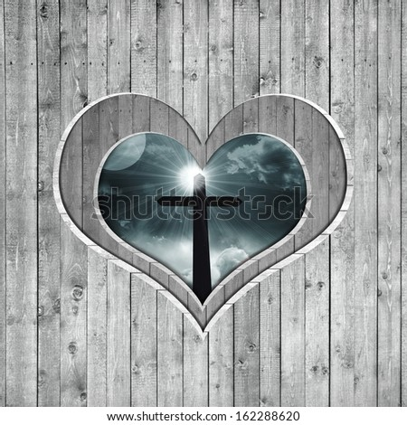 cross, silhouette, sky, clouds, background wood in the shape of heart - stock photo