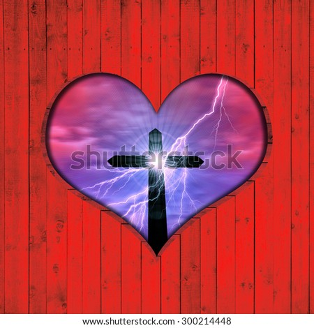 cross, silhouette, sky,sun, clouds,lightning, background wood in the shape of heart - stock photo