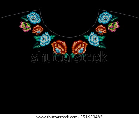 Cross Stitch Floral Embroidery Neckline Roses Stock Illustration ...
