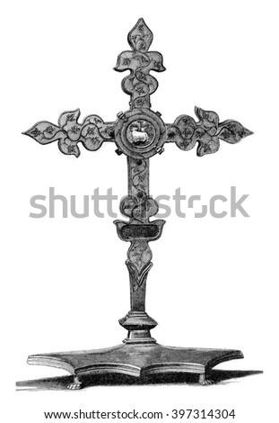 Cross the thirteenth century preserved at the Hotel-Dieu de Troyes, vintage engraved illustration. Magasin Pittoresque 1880. - stock photo