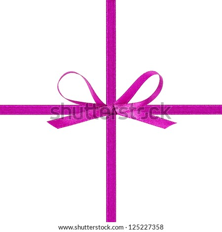 cross thin purple ribbon with bow, isolated on white - stock photo