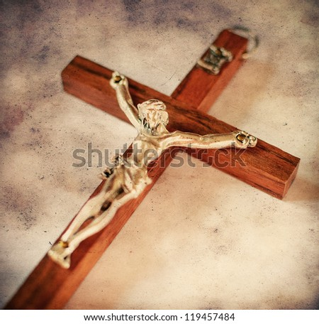 Cross with crucified Jesus Christ in vintage style - stock photo