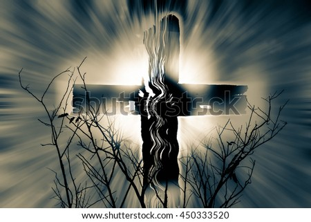 Cross with light and branch,Faith belief and hope concept