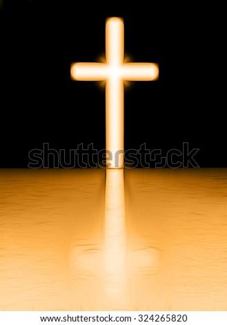 Cross with light shafts - stock photo