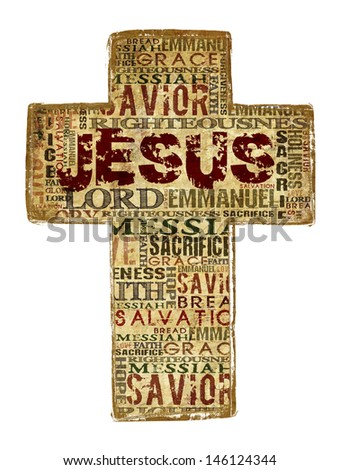 Cross With Religious Words on white background. - stock photo