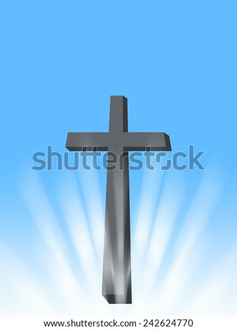 cross with sun rays and light christian symbol of resurrection illustration with blue background