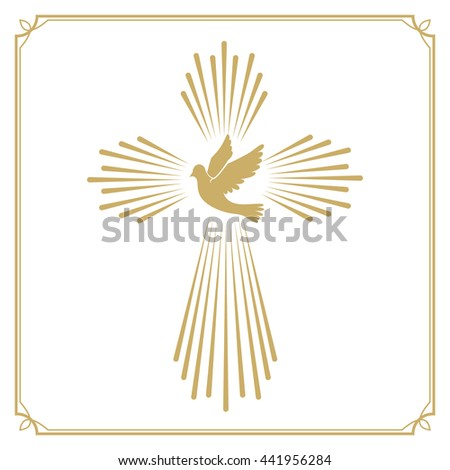 Cross with the dove. Church emblem template. - stock photo