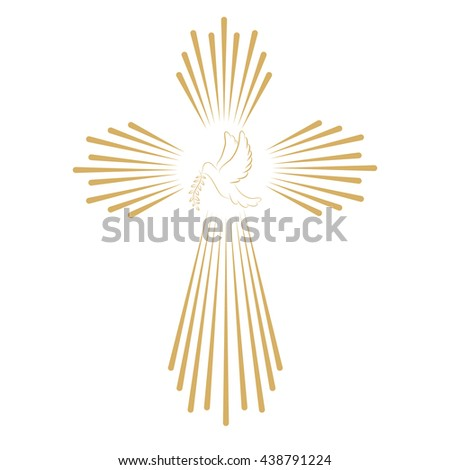 Cross with the dove. Church emblem template. Design element. - stock photo