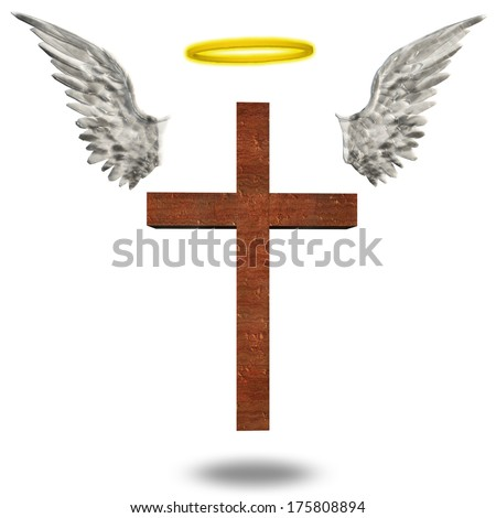 Cross with wings an halo - stock photo