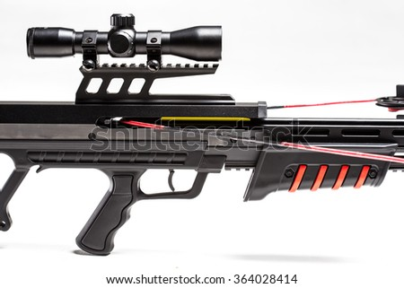 Crossbow on white background close up