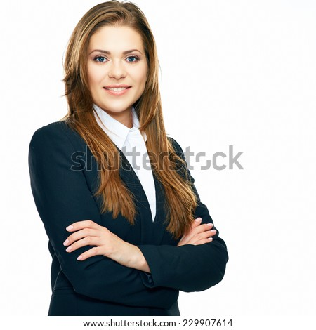 crossed arms . business portrait of smiling woman. white background isolated. - stock photo