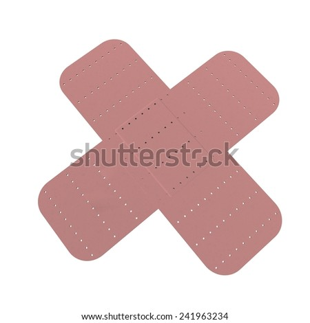 Crossed band aids isolated over white, 3d render - stock photo